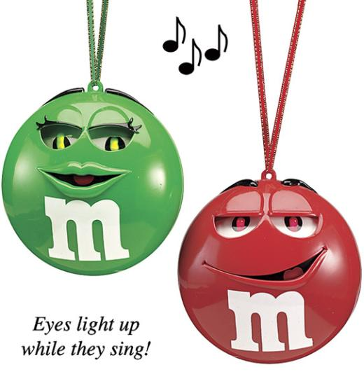 xmas ornaments singing m&m