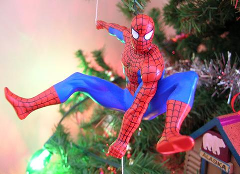 xmas ornaments spiderman comic