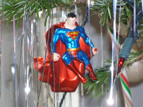xmas ornaments superman comic