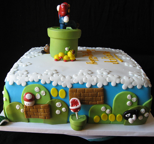 Mario Birthday Cake Back View