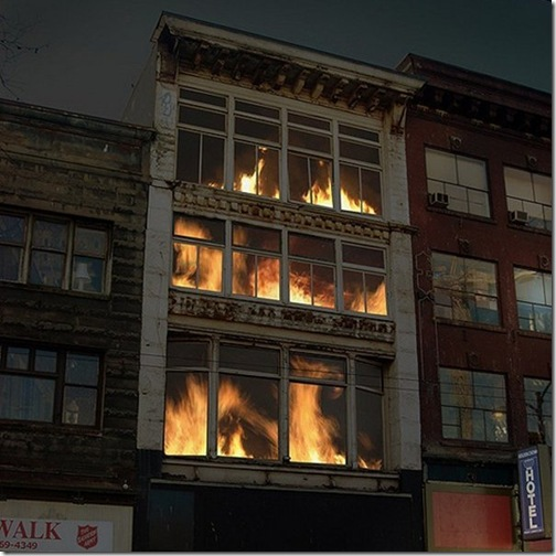 burning building