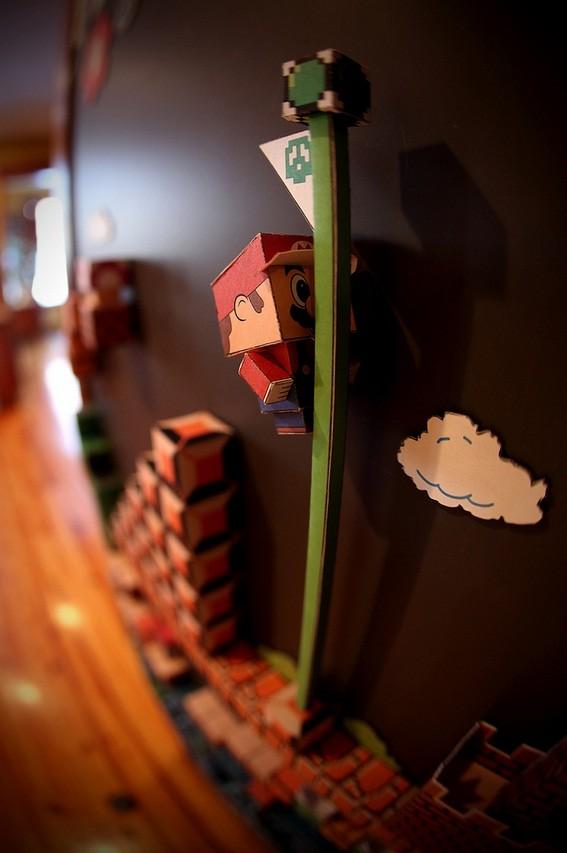 super mario bros 8 bit papercraft magnet artwork