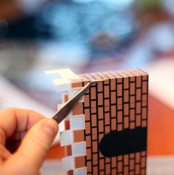 super mario bros 8 bit papercraft magnet diorama art