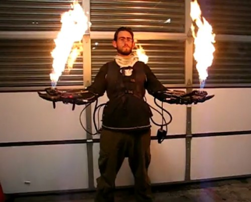 Flame Thrower Gloves