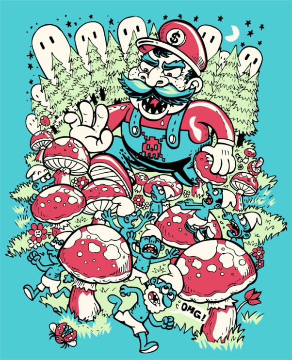mario in smurf land t shirt