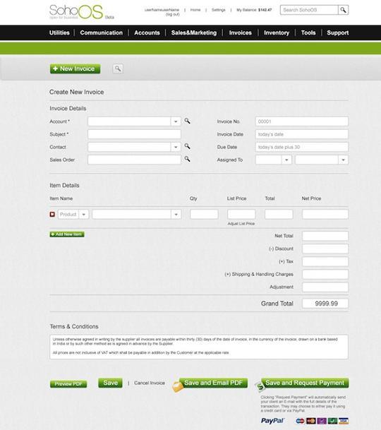 SohoOS Invoice