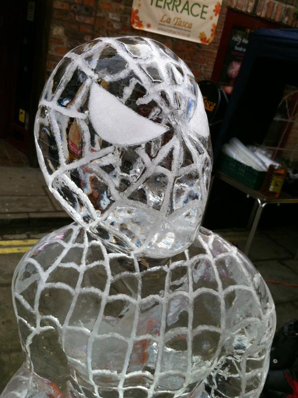 spiderman ice sculpture