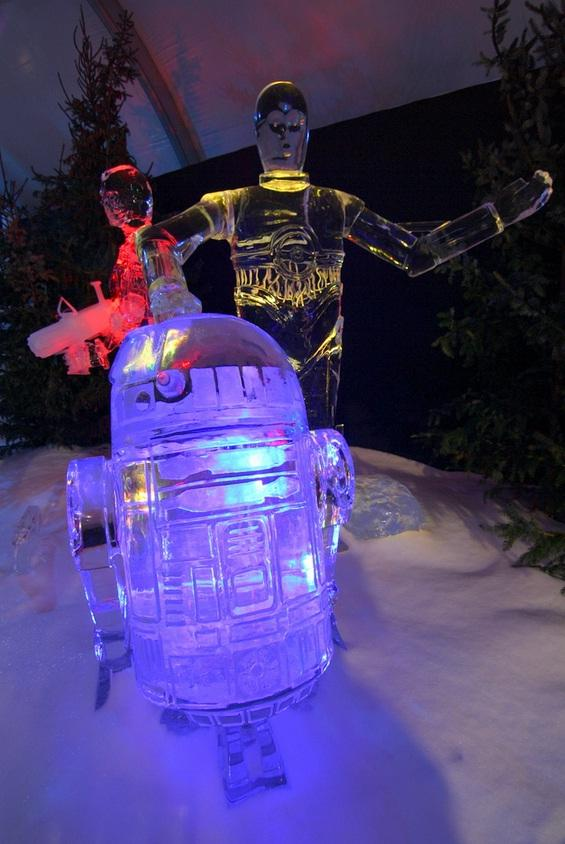 star wars ice sculptures r2d2 proncess leia c3po 1