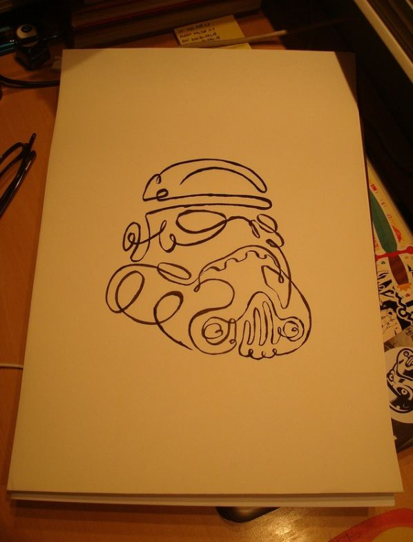 star wars stormtrooper one line drawing