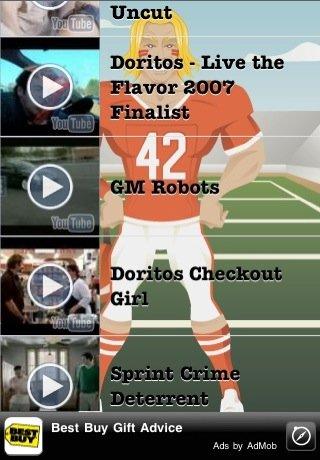 super bowl xlv commercials a+ iphone app