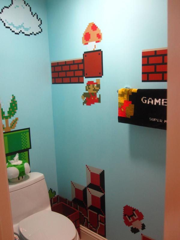 super mario bros bathroom art 1