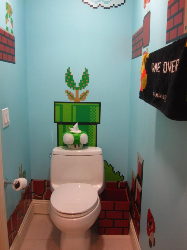 super mario bros bathroom art