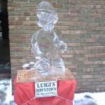 super mario bros ice sculpture luigi