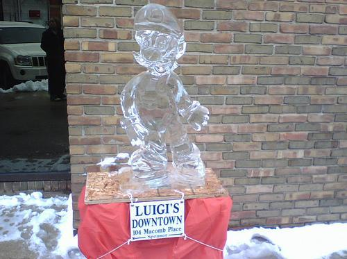 super mario bros ice sculpture luigi