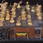 Gold Plated Aliens Chess Pieces
