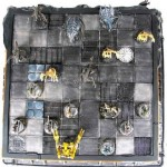 Overhead view Aliens chess board