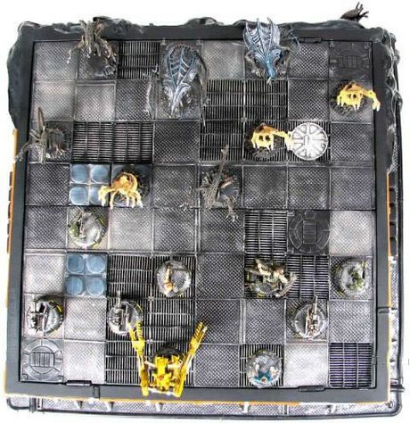 Overhead view Aliens chess board