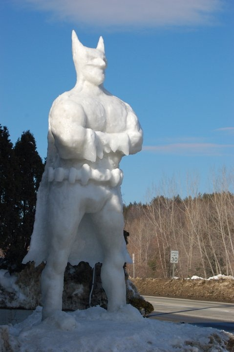 Tall Batman Snow Sculpture