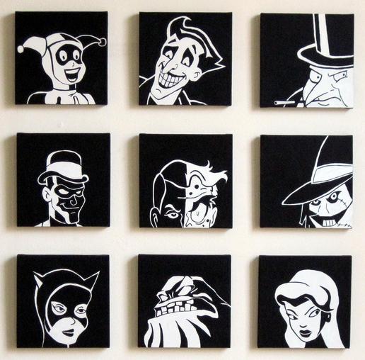 Animated Batman Villains Wall Art   Walyou
