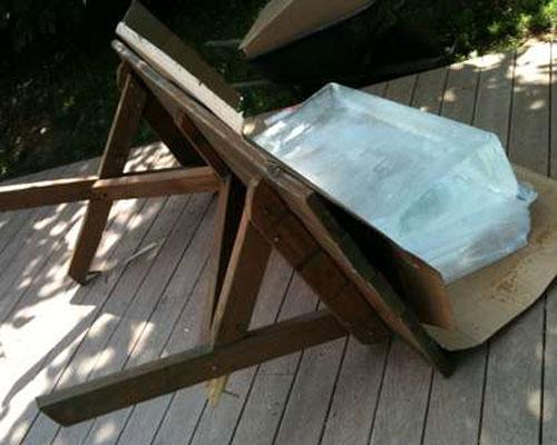Ice Block Breaks Table