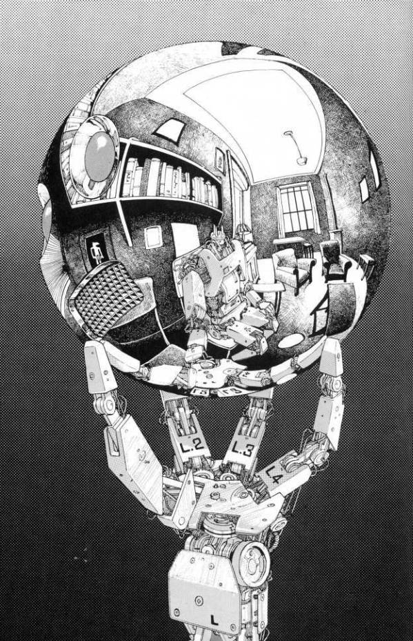 mc escher hand with reflecting sphere robot remake
