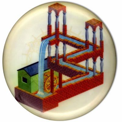 mc escher waterfall illusion flying disc