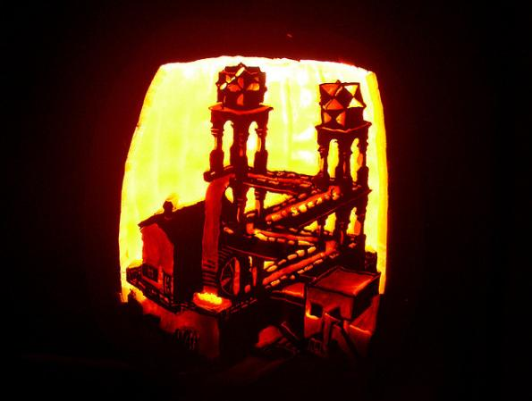 mc escher waterfall illusion pumpkin