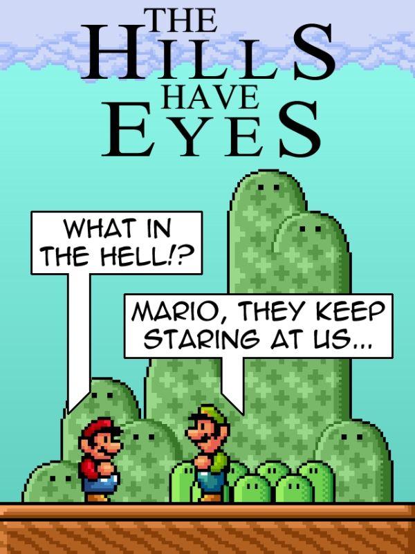 super mario bros hills have eyes