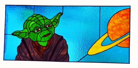 Star Wars Yoda Stained Glass Panel