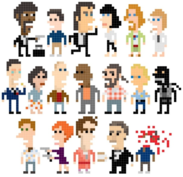 pulp fiction characters pixels