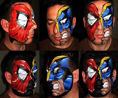 spiderman vs wolverine face paint