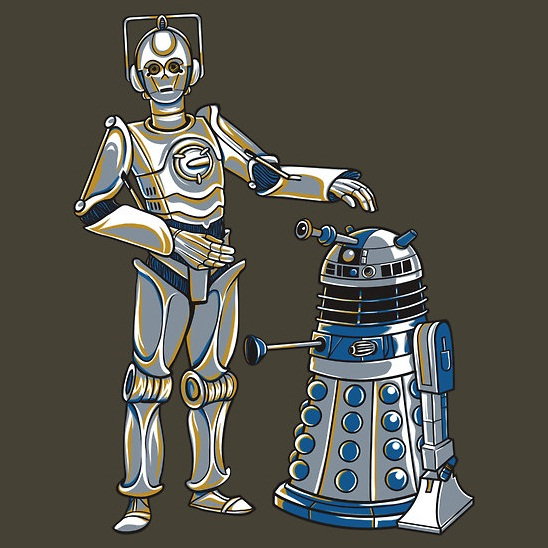 star wars doctor who cyber3po r2dalek shirt