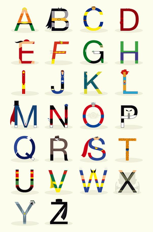 superheroes alphabet abc