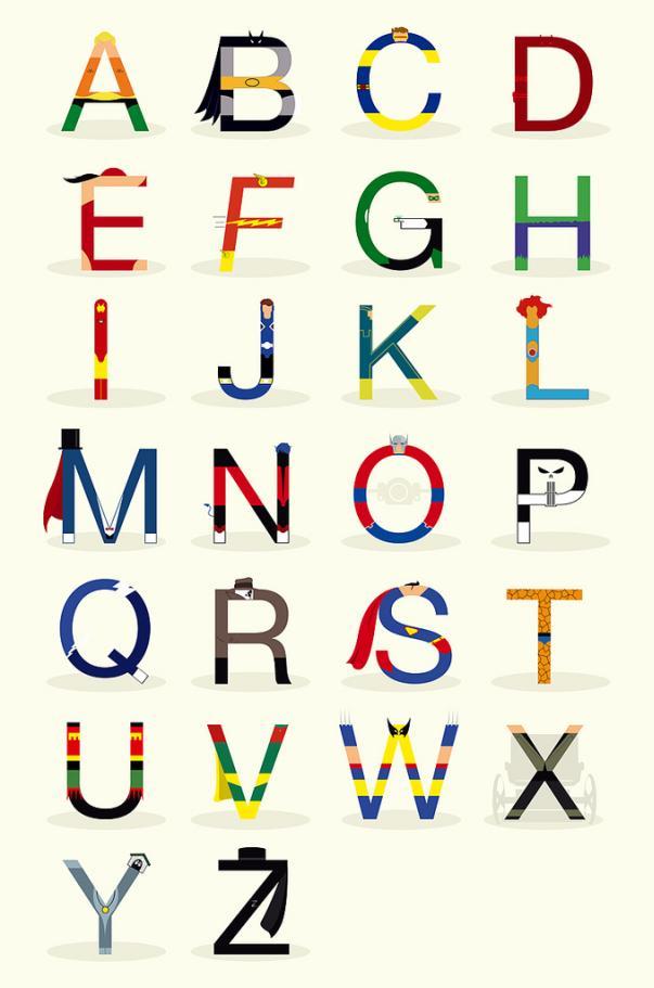 superheroes alphabet abc