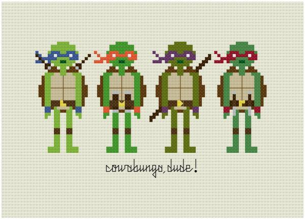 teenage mutant ninja turtles cross stitch