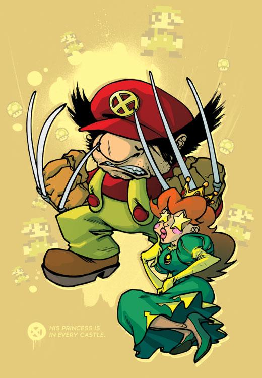 Mario Wolverine and Peach Jean Grey