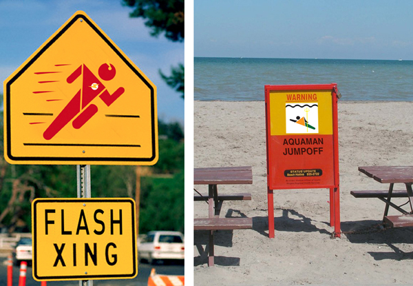 Superhero Pictogram Signs