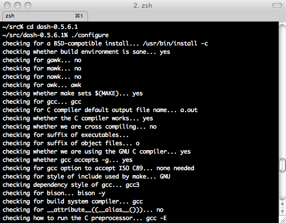 A compile session running on Mac OS X