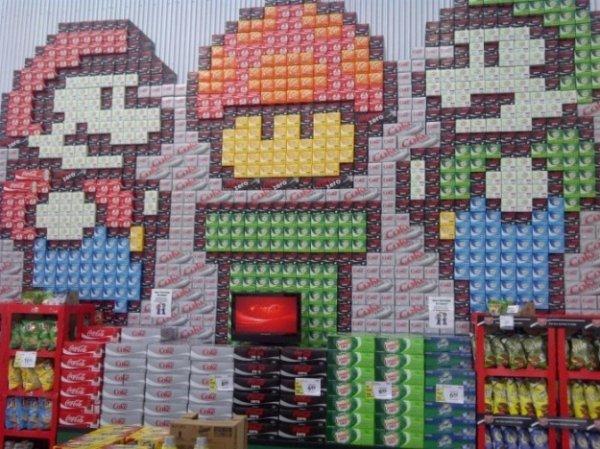 super mario bros soda can display
