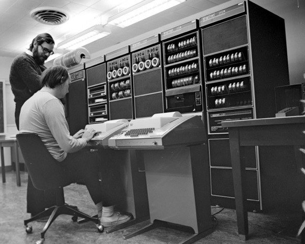 Dennis Ritchie and Ken Thomspon with their Unix computer