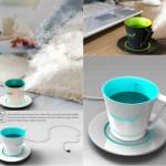 steaming coffee mug