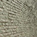 Art Exhibit Wall Covered in Dollar Bills
