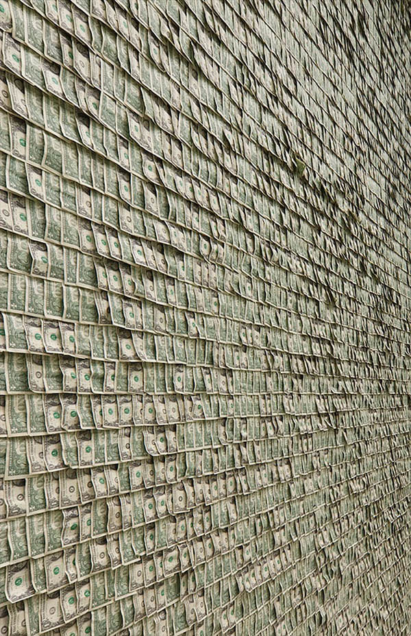 Wall of One Dollar Bills