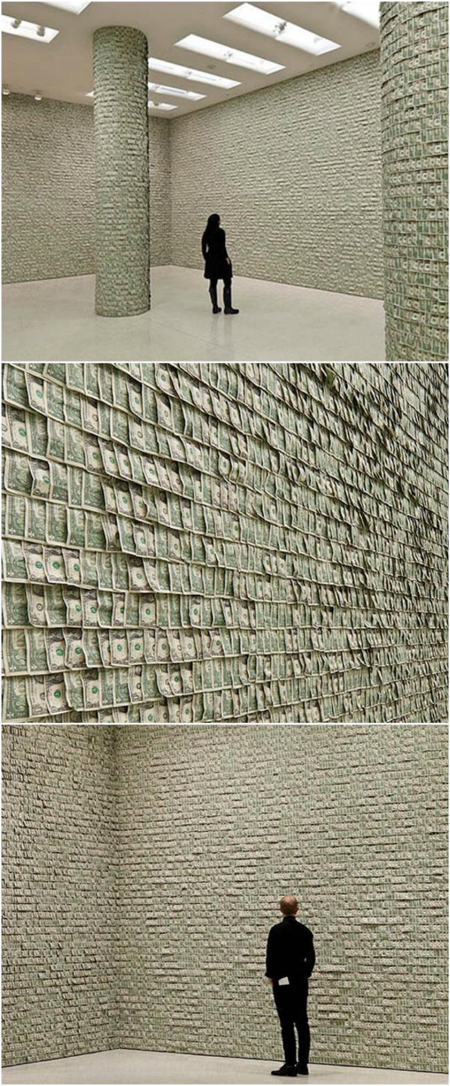 Wall of One Dollar Bills