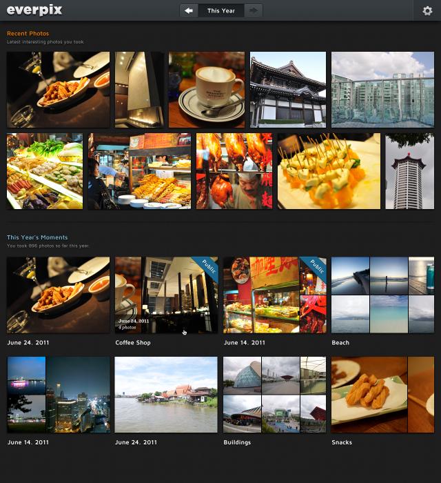 Everpix Photo Album Interface