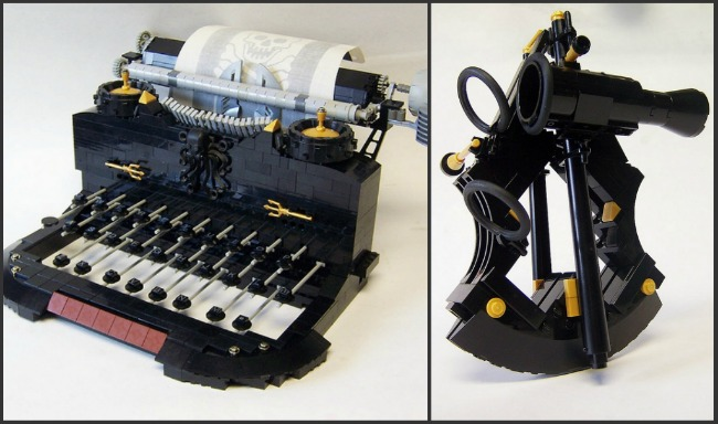 LEGO Pirate Typewriter and Sextant