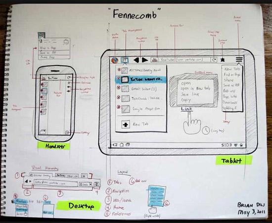 firefox tablet sketch design concept