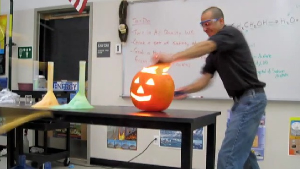 Mr. Bergmann Exploding Pumpkin Experiment