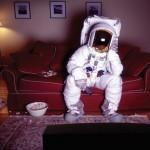Astronaut watching TV