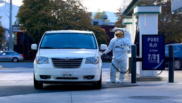 Astronaut getting gas